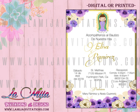 Virgencita Invitations, Virgencita Baptism Invitations, Invitaciones Virgencita, Virgencita Bautizo, Virgen de Guadalupe Invitations, Virgen Party Ideas