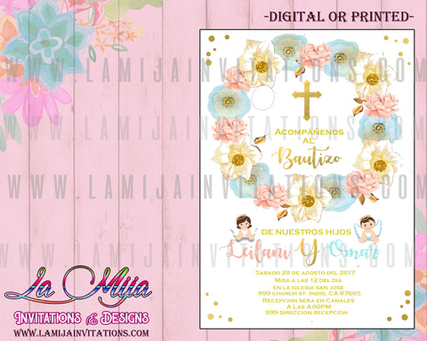 Baptim Invitations, Customized Item, Twin Baptism, Bautizo Gemelos, Sibling Baptism Invitations, Boy and Girl Baptism, Pink and Blue Baptism Invitations