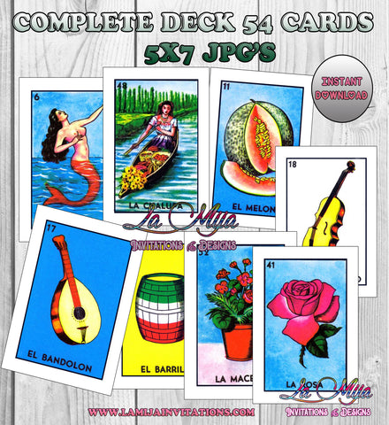 Loteria Digital Cards, Loteria Traditional Images, Instant Download, 54 Separate Files