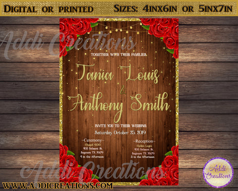 Wedding Invitations, Rustic Wedding Invitations, Red Roses Wedding Invitations, Invitaciones de Boda - Addi Creations