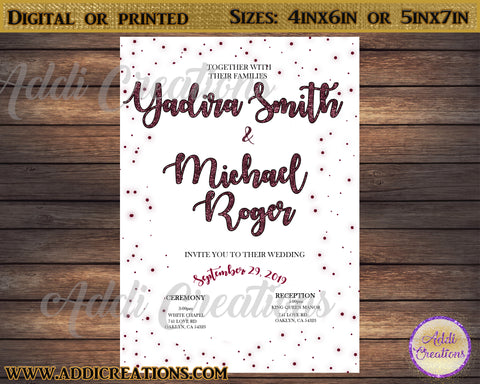 Wedding Invitations, Burgandy Wedding Invitations, Invitaciones Boda - Addi Creations