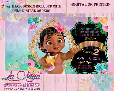 Moana Birthday Invitations, Moana First Birthday Invitations, Baby Moana Invitations, Baby Moana Birthday Invitations, Invitaciones Baby Moana, Baby Moana Birthday Party Ideas