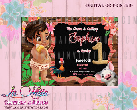 Moana Invitations, Baby Moana Invitations, Baby Moana Birthday Party, Baby Moana Birthday Invitations, Invitaciones Baby Moana, Baby Moana Party Invites