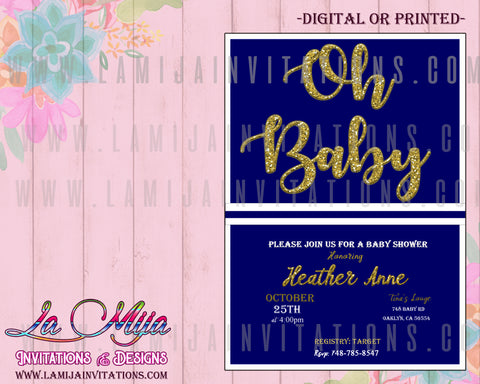 Oh Baby Invitations, Oh Baby Shower Invitations, Oh Baby Theme, Invitaciones baby Shower Nino