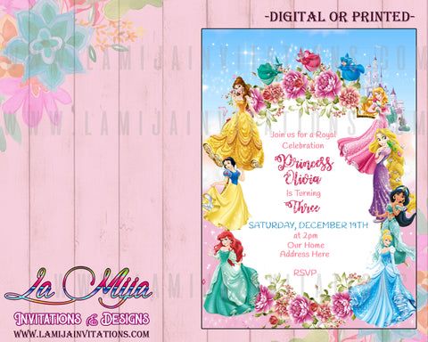 Disney Princess Invitations, Customized Item,  Disney Princess Party, Princess Invitations, Invitaciones Princesas Dinsey, Disney Princess Ideas