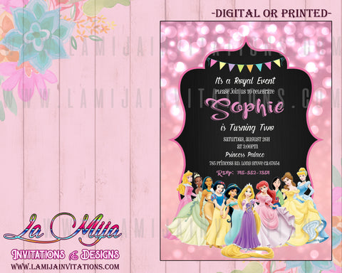 Disney Princess Invitations,  Customized Item, Disney Princess Cheap Invitations, Disney Princess Party Invites, Invitaciones Disney Princess, Princess Disney Party Theme