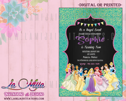 Disney Princess Invitations,Customized Item,  Disney Princess Birthday Invitations, Disney Princess Party, Invitaciones Disney Princess, Invitaciones Princesas, Disney Princess