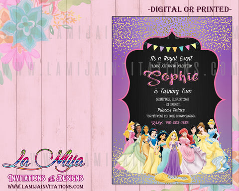 Disney princess Invitations, Customized Item, Disney Princess Birthday Invites, Disney Princess Party Invites, Invitaciones Disney Princess, Disney Princess Theme