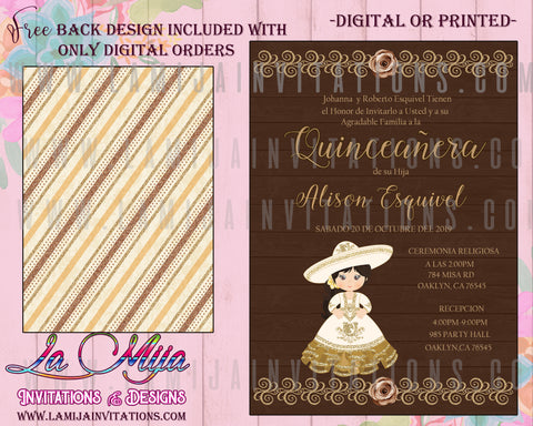 Quinceanera Invitations, Customized Item, Charra Quinceanera Invitations, Invitaciones Quince Anos, Charra Theme Quince Invites - Addi Creations