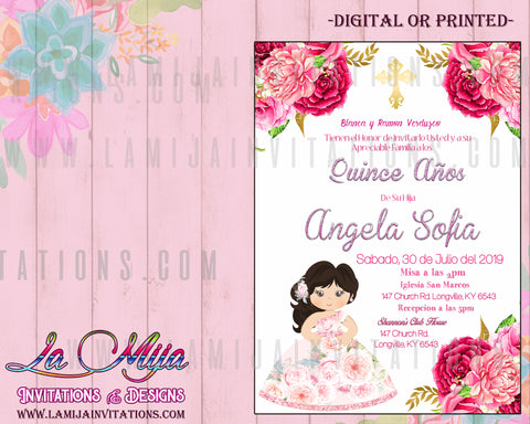 Quinceanera Invitations, Customized Item, Invitaciones de Quince Anos, Charra Quinceanera Invitations - Addi Creations