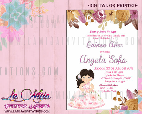 Quinceanera Invitations, Customized Item, Quince Anos Invites, Pink and Gold Quinceanera Invitations - Addi Creations