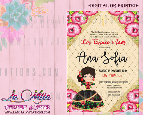 Quinceanera Invitations, Customized Item, Charra Theme Quinceanera Invitations, Mexican Theme Quince Anos Invites - Addi Creations