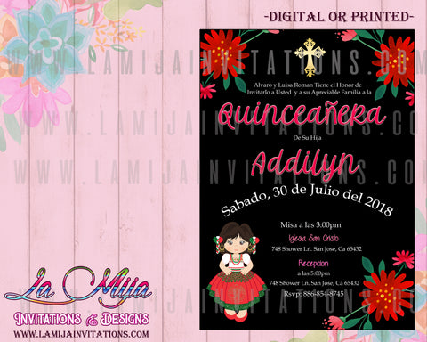 Quinceanera Invitations, Customized Ietm, Mexican Theme Quinceanera Invites, Charra Quince Anos Theme - Addi Creations