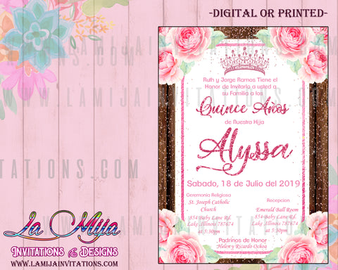 Quinceanera Invitations, Customized Item, Invitaciones Quinceanera, Rustic Quinceanera Invitations, Pink Roses Quince Invites - Addi Creations