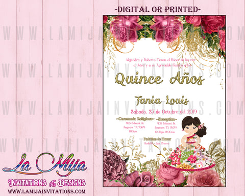 Quinceanera Itanvitions, Customized Item, Invitaciones Quinceanera, Charra Quinceanera Invites - Addi Creations