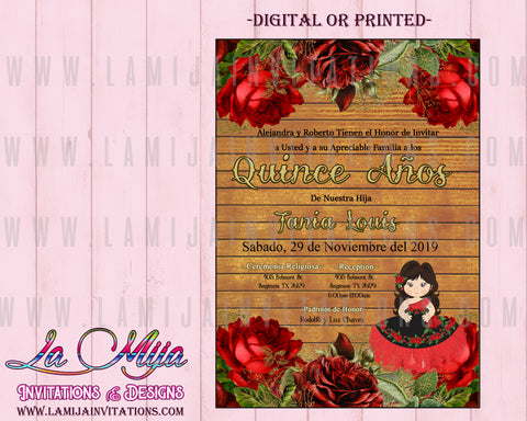 Quinceañera Invitaciones, Rustic Quinceanera Invitations, Customized Item, Invitaciones Quinceanera, Pink Flowers Quinceanera Invites - Addi Creations