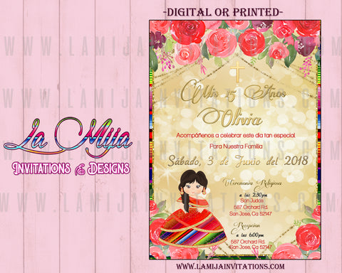 Quinceanera Invitations, Mexican Quinceanera Invitations, Charra Red Gold Invitations, Quince Anos Invitations, Charra Quince Anos Decorations, Charra Quince Anos Party Ideas - Addi Creations