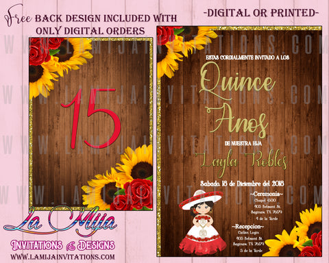 Quinceanera Invitations, Quince Anos Invitations, Mexican Theme Quinceanera, Rustic Quinceanera Invitations, Sun Flower Quinceanera, Red Roses, Boot Quinceanera, Western Quinceanera Invitations, Invitaciones Quinceanera, Charra Quince - Addi Creations