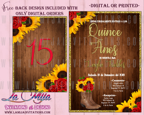 Quinceanera Invitations, Customized Item, Western Theme Quinceanera Invitations, Invitaciones de Quince Anos, Boot Theme Quince Anos Invites, Mexican Theme Quinceanera Invites - Addi Creations