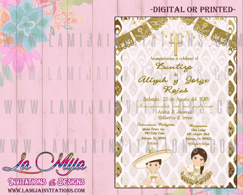 Charro Invitations,  Customized Item, Sibling Charro Baptism Invitations. Charro and Charra Baptism, Charro Baptism Invitations, Charra Baptism Invitations, Invitaciones Charro Bautizo, Gold and White Charro, White and Gold Baptism Charro Invitations