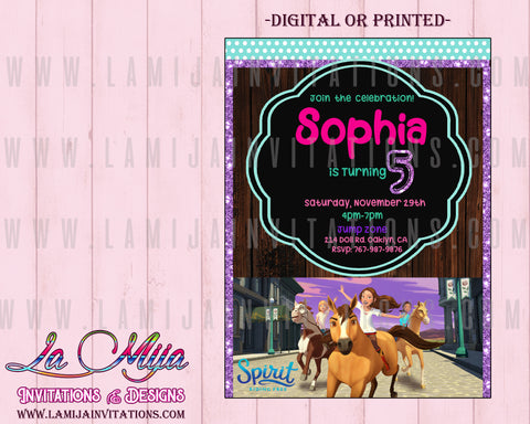 Spirit Riding Birthday Invitations, Customized Item, Spirit Riding Party Invites, Spirit Riding Invitations - Addi Creations