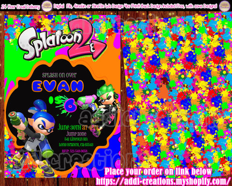 Splatoon Birthday Invitations, Splatoon Invitations, Splatoon Birthday Party, Splatoon Birthday Party Invites - Addi Creations