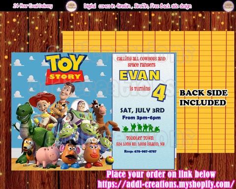 Toy Story Birthday, Toy Story Invitations, Toy Story Birthday Invitations, Toy Story Party Ideas - Addi Creations