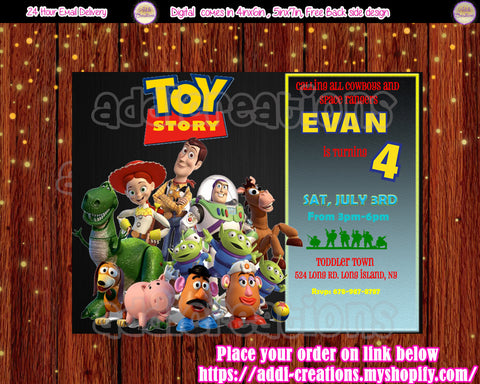 Toy Story Birthday, Toy Story Invitations, Toy Story Birthday Invitations, Toy Story Party Invites, Toy Story Birthday Party Ideas - Addi Creations