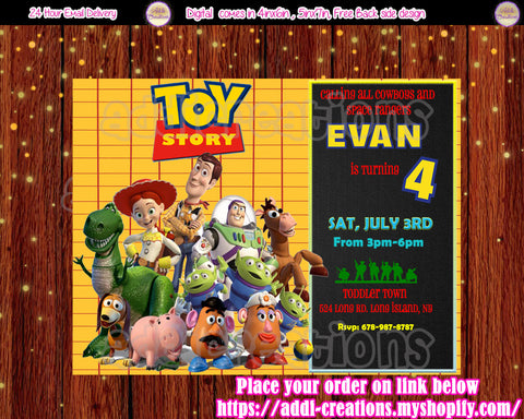 Toy Story Invitations, Toy Story Birthday Invitations, Toy Story Birthday Party, Toy Story Birthday Ideas - Addi Creations