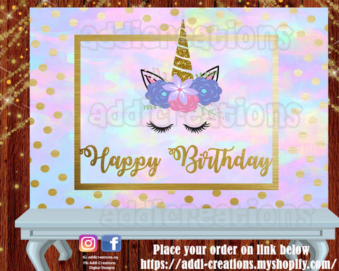 Unicorn Digital Backdrop, Customized Item,  Unicorn Backdrop, Unicorn Birthday, Unicorn Party, Unicornio - Addi Creations
