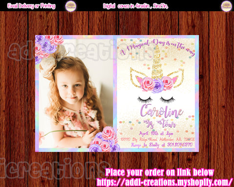 Unicorn Birthday Invitations, Unicorn First Birthday Invitations, Unicorn Party Ideas, Unicorn First Birthday, Unicorn Party Invites, Invitaciones Unicornio - Addi Creations