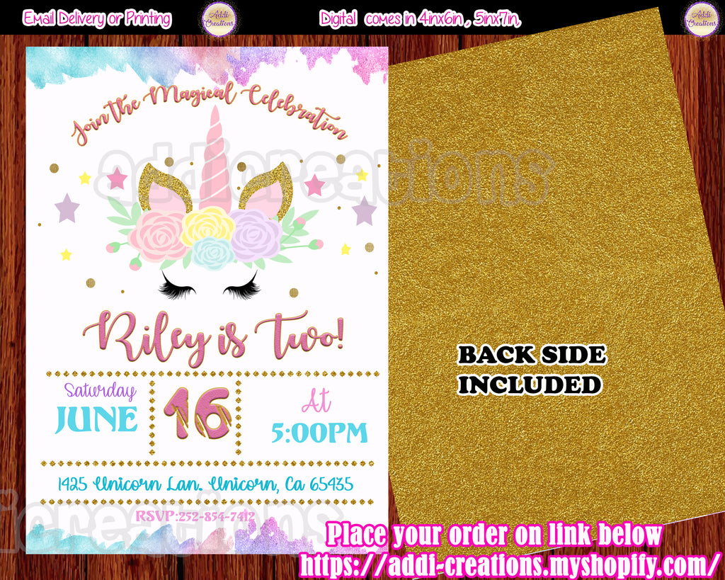 Unicorn Invitations Birthday Ideas First
