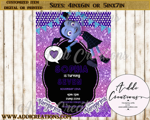 Vampirina Invitations, Customized Item, Vampirina Birthday Invitations, Invitaciones Vampirina, Vampirina Party Invites