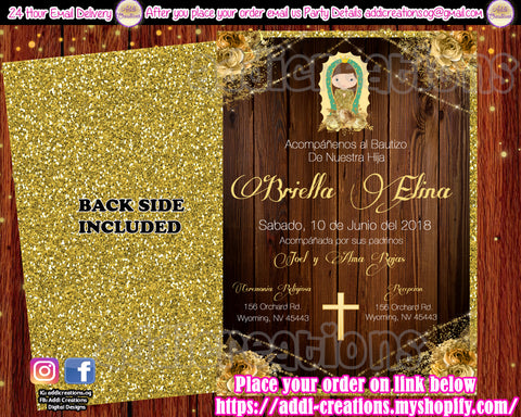 Virgencita Invitations, Mexican Baptism Invitations, Virgen de Guadalupe Invitations, Virgencita Baptism Invitations, Invitaciones Virgencita, Invitaciones Bautizo