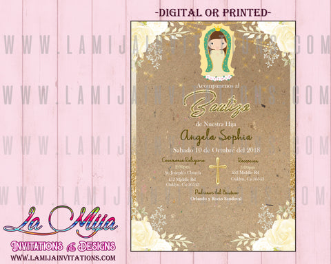 Virgencita Invitations, Virgen de Guadalupe Invitations, Virgencita Baptism Invitations - Addi Creations