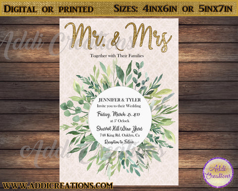 Wedding Invitations, Greenery Wedding Invitation, , Olive Leaves Wedding Invitation, Olive Branch Wedding Invitation, Invitaciones Boda - Addi Creations