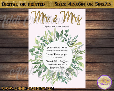 Wedding Invitations, Grennery Wedding Invitations, Olive Leaves Wedding Invitations, Green Leaf Wedding, Invitaciones boda - Addi Creations