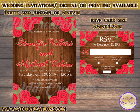 Wedding Invitations, Flower Wedding Invitations, Invitaciones de Boda - Addi Creations