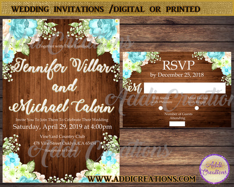 Wedding Invitations, Wedding Flower Invitations, Invitaciones De Boda - Addi Creations