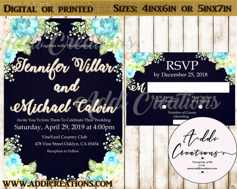 Wedding Invitations, Wedding Flower Invitations, Invitaciones Boda - Addi Creations
