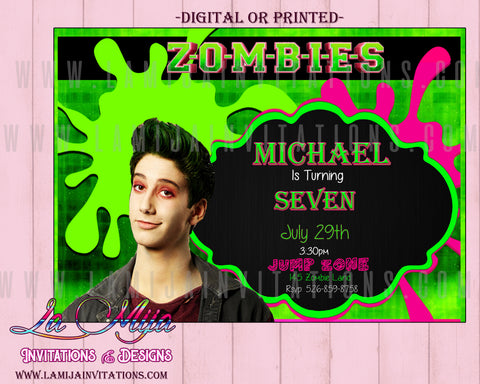 Zombies Disney Party,  Customized Item, Zombies Disney Invitations, Zombie Disney Birthday Ideas, Zombies Disney Birthday Invitations, Zombies Disney Boy Invitations - Addi Creations