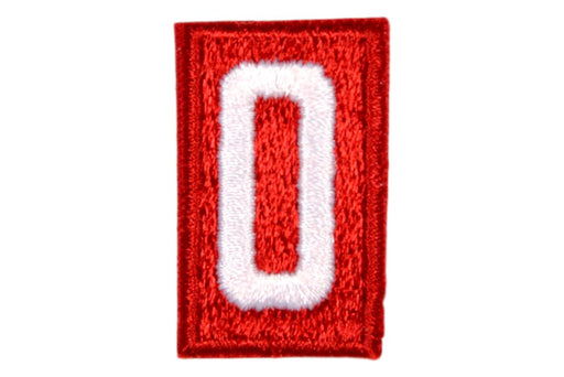 0 Unit Number White on Red Plain Back