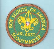 Junior Assistant Scoutmaster Patch 1960s Type 2 with Title Plastic Back