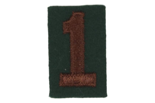 1 Felt Unit Number Brown on Green