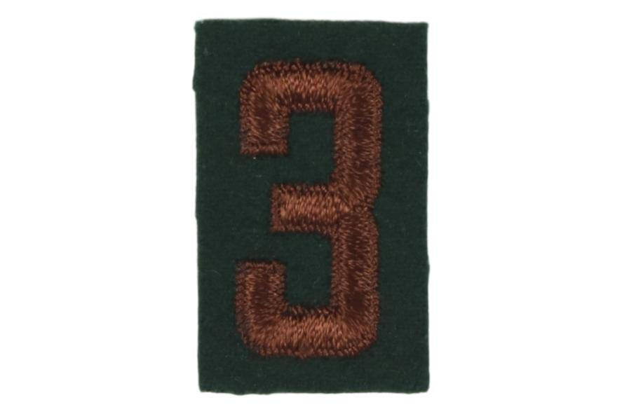 3 Felt Unit Number Brown on Green