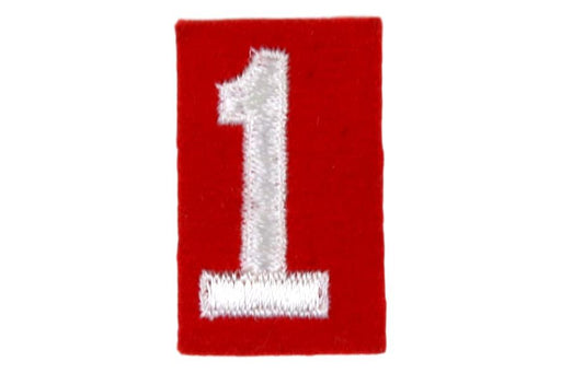 1 Felt Unit Number White on Red
