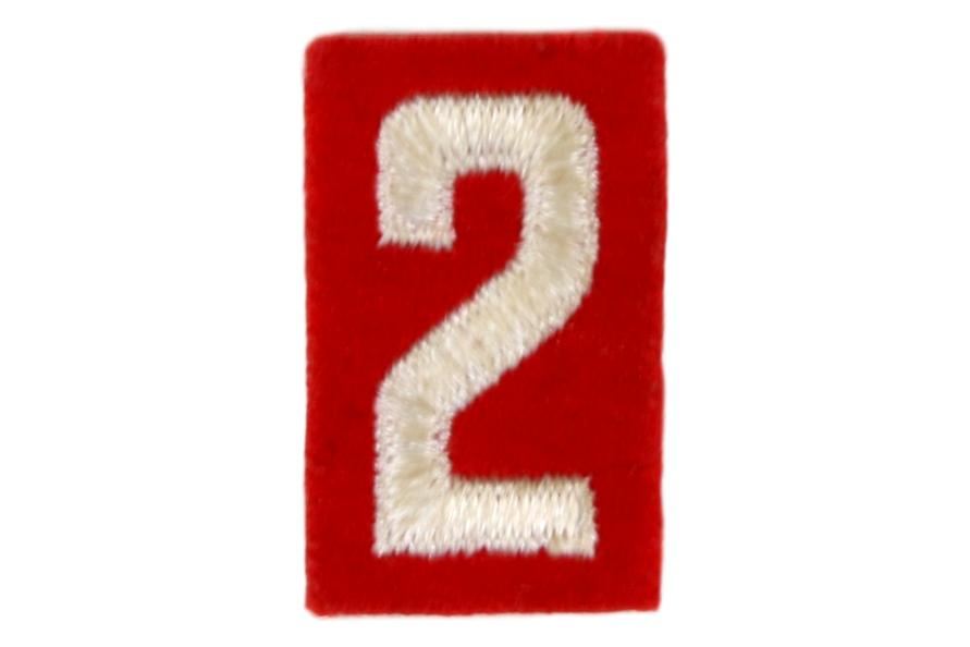 2 Felt Unit Number White on Red