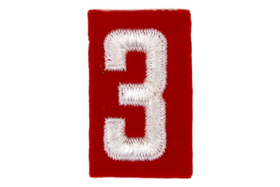 3 Felt Unit Number White on Red