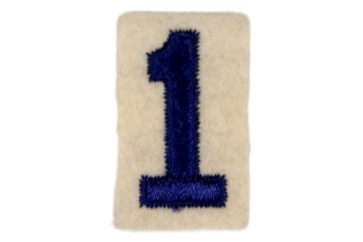 1 Felt Unit Number Blue on White