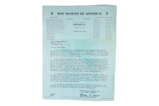 Eagle Certificate and James West Letter 1940